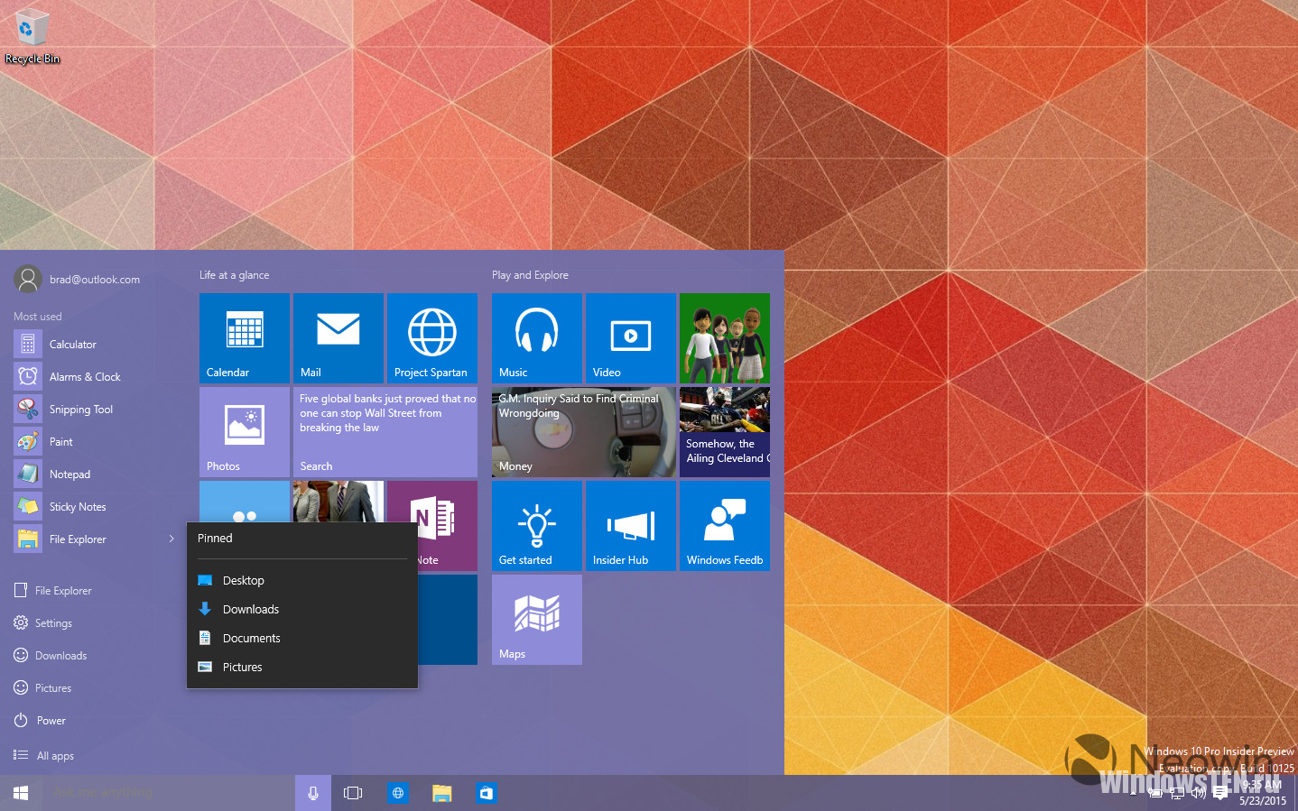 Windows 10 Insider Preview build 10125