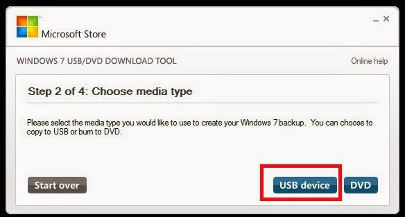Выбор носителя в Windows 7 USB/DVD Download Too