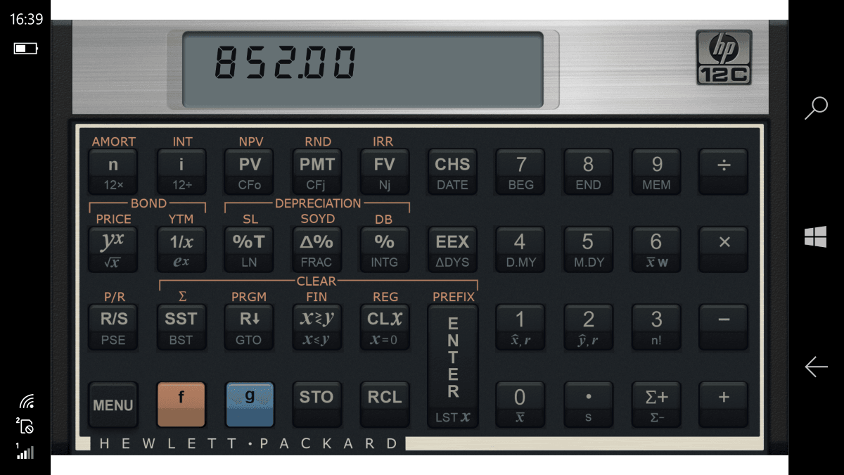 HP 12 C Financial Calculator for X3